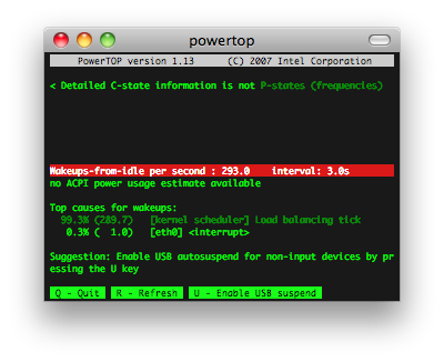 powertop screenshot
