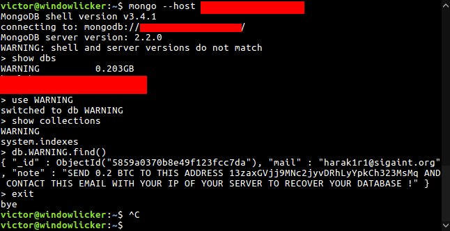 MongoDB ransom demand (via Victor Gevers)